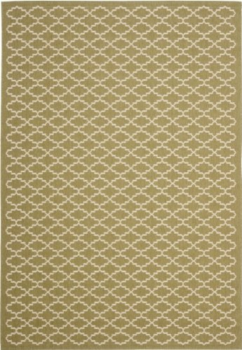 Safavieh Transitional Rug - Courtyard 6000 Polypropylene -Green/Beige Green/Beige/Transitional/9' 6''L x 6' 7''W/Medium Rectangle