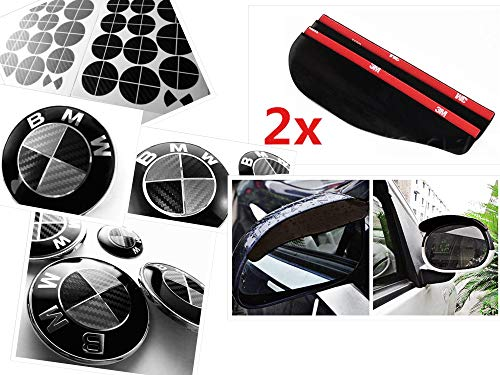 BLACK and SILVER Carbon Fiber Sticker Overlay Vinyl for All BMW Emblems Caps Logos Roundels (Silver Bmw 5 Series With Black Rims)