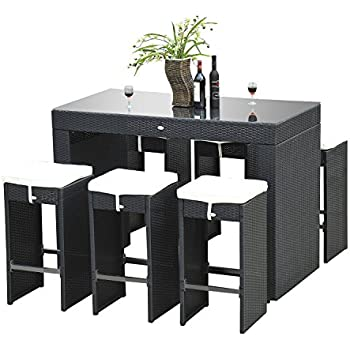 Amazon Com Outsunny 7pc Rattan Wicker Bar Stool Dining