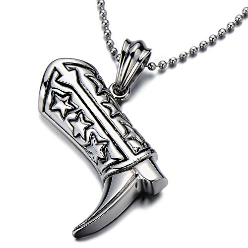NEW Stainless Steel Cowgirl Cowboy Boot Pendant Necklace for Men and Women Polished with 30 in Ball Chain