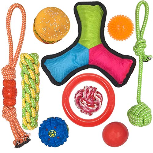 10 Pack Dog Toy Set Ball Rope and Chew Squeaky Toys for Small Medium Dog ()
