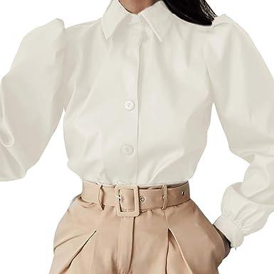 Shujin - Blusa de piel sintética para mujer, manga larga ...