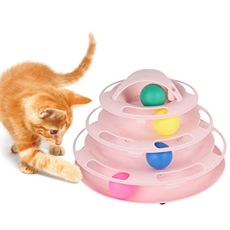 Petilleur Juguete Gato Interactivo Juguetes para Gatos con Bolas en 4 Nivel (Rosa)