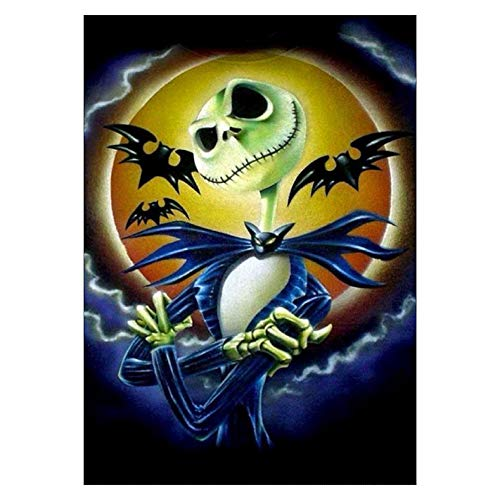 SAROW DIY 5D Diamond Painting by Number Kit, Full Diamond Crystal Cross Embroidery Art Crafts Decoration for Family Wall(Halloween Bat Gentleman,11.8 x 15.8 inches) -