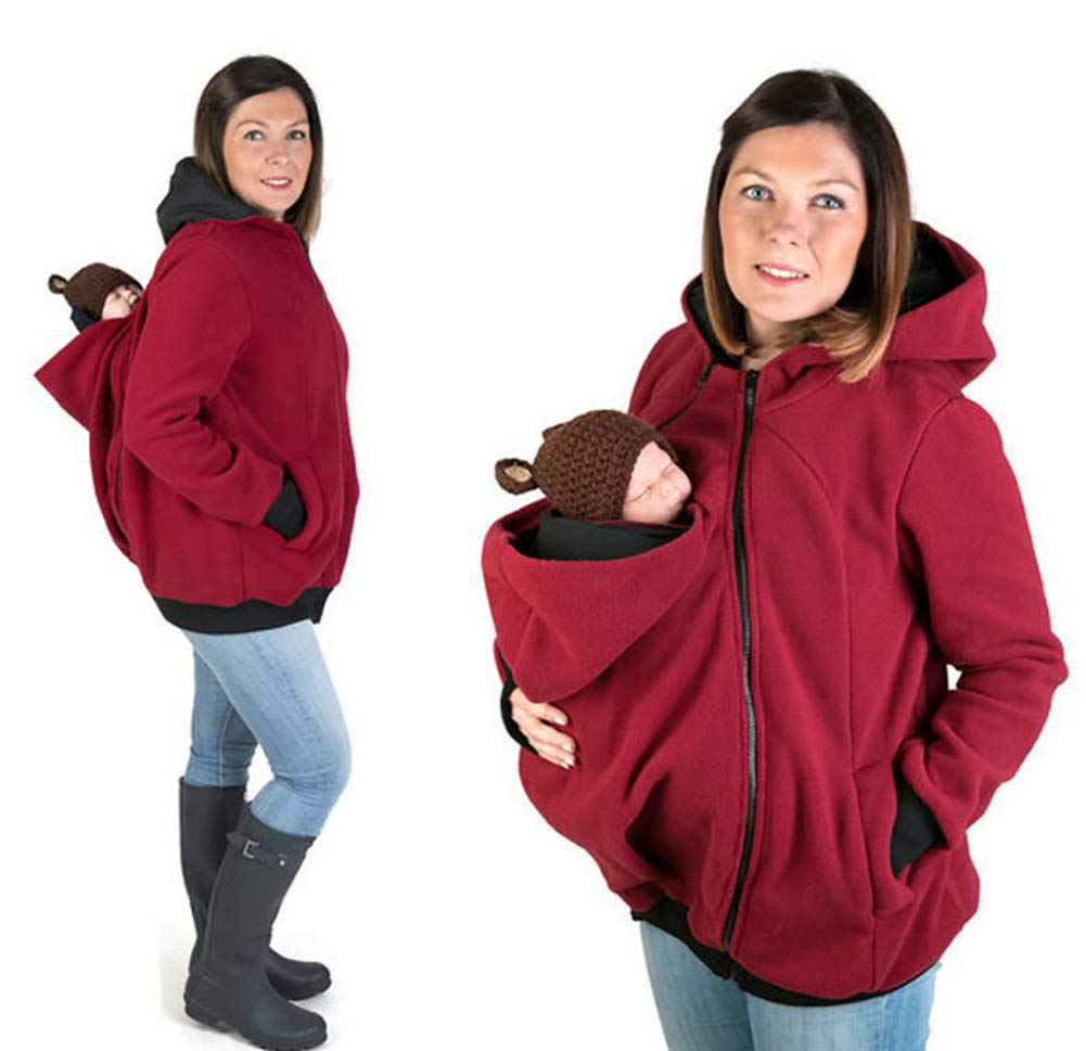 SHANGLY Baby Carrier Jacket Kangaroo Hoodie Winter Maternity Hoody Outerwear Coat For Pregnant Women Carry Baby Pregnancy Clothing, S [Energy Class A]