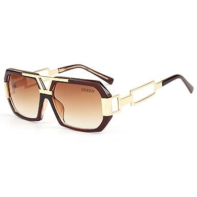 Oversized Super Große Sonnenbrille Damen Großen Brille Square Piloten Retro Metall Rahmen für Herren Sonnenbrille Spiegel BRILLE Silber rTa6TB