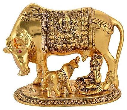 Aadit Crreation Gold Elegant Kamdhenu Cow and Calf with Krishna showpiece Idol for Home Decor and Gift