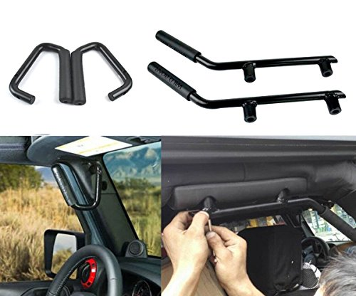 Opar Front & Rear Grabars Grab Handle Kit for 2007-2018 Jeep Wrangler Unlimited 4-Door (Black)