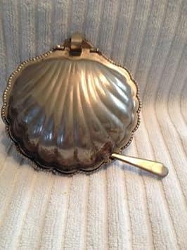 Vintage Leonard plata Sheffield Inglaterra Clam Shell Silverplate Caviar plato de mantequilla con inserto de cristal y cuchillo: Amazon.es: Hogar