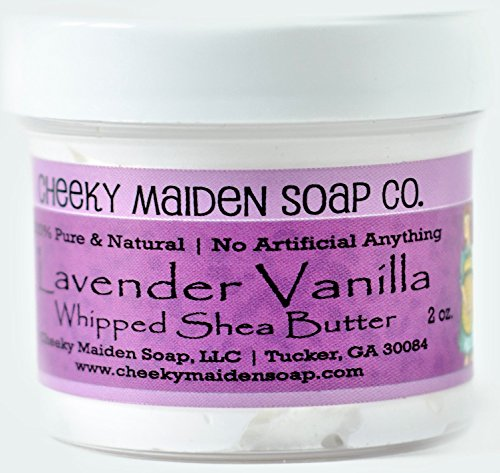 Cheeky Maiden Lavender Vanilla Shea Butter 100% Natural Handmade with Unrefined Shea Butter Coconut Argan & Grapeseed Oil Bitter Almond Litsea Cubeba & Vanilla Essential Oil 2 oz Made in USA