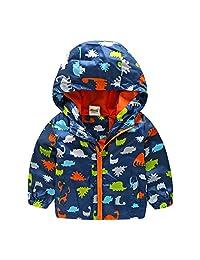 Baby Boys Winter Warm Outwear Zipper Hooded Dinosaur Printed Jacket Coat Parka