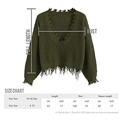 ZAFUL Women's Loose Long Sleeve V-Neck Ripped Pullover Knit Sweater Crop Top (Army Green) at Women's Clothing store