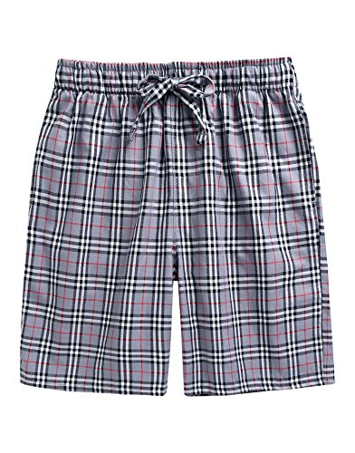 (TINFL Men's Plaid Check Cotton Lounge Sleep Shorts MSP-SB001-Grey XL )