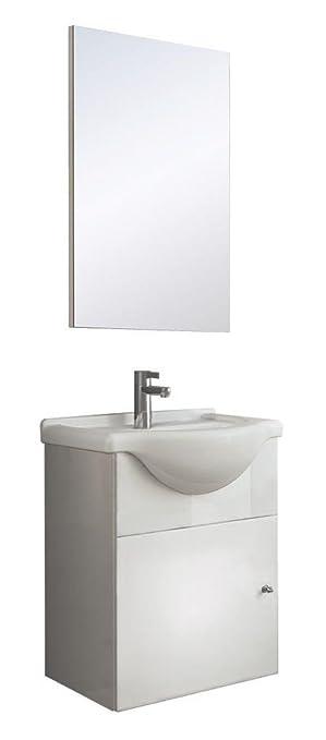 Mini Waschplatz 45cm Waschtisch Spiegel Schrank Soft Close