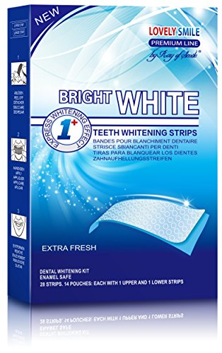 Professional Teeth Whitening Strips with Non-Slip Tech - Bright White - Lovely Smile Premium Line ()