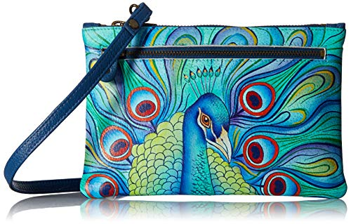- Anuschka Handpainted Leather | Organizer Wallet With Smart Phone Case | Jeweled Plume