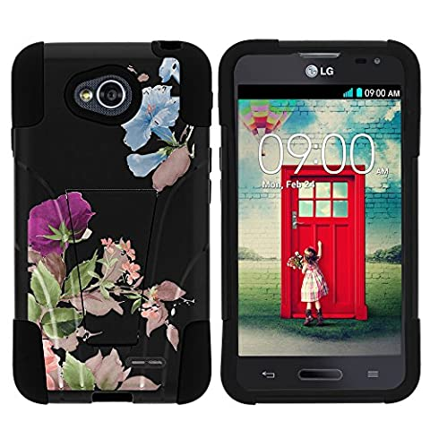 LG Ultimate 2 Case, Dual Layer Shell STRIKE Impact Kickstand Case with Unique Graphic Images for LG Optimus L70 MS323, LG Optimus Exceed 2 VS450PP, LG Realm LS620, LG Ultimate 2 L41C (Metro PCS, Verizon, Boost Mobile) from MINITURTLE | Includes Clear Screen Protector and Stylus Pen - Promising (Cover De Lg 70)