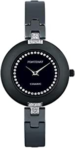 Fontenay Paris Women's Black and silver Analog Stainless Steel Band watch - 209QWNNCN