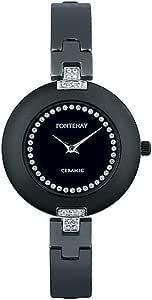 ساعة انالوج للنساء بمينا اسود وسوار سيراميك 209 Qwncn من فونتيناي، انالوج