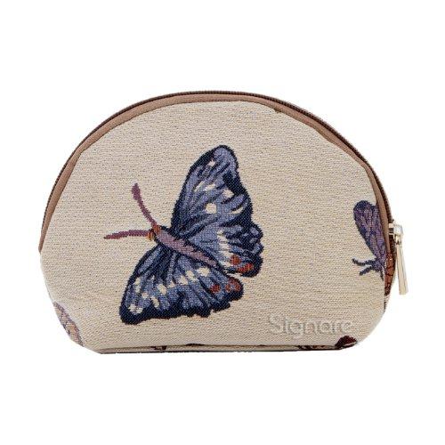 Estuche de maquillaje de moda Signare para mujer en tela de tapiz ovieja Mariposa