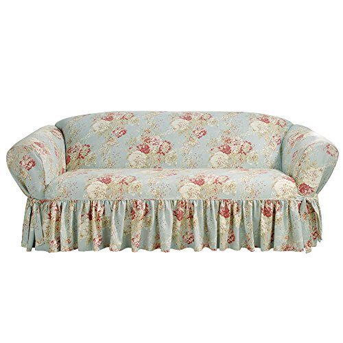Sure Fit Ballad Bouquet by Waverly One Piece Box-Cushion Sofa Slipcover - Robin's Egg (SF43221)