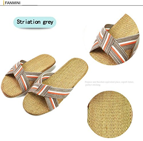 Linen Toe Niceful Gray4 Slippers Breathable Open Antiskid Unisex Slippers Couple Indoor Home qAfdTFA