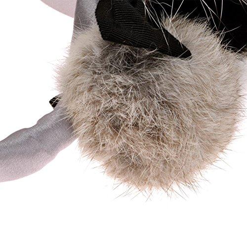 ZLYC Women Fashion Luxurious Rex Rabbit Fur Adjustable Earmuffs Bowknot Earwarmer, Gray by ZLYC (Image #4)