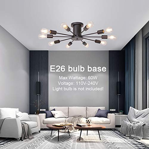 VINLUZ 10 Lights Modern Sputnik Chandelier Oil Rubbed Bronze Flush Mount Ceiling Light Rustic Chandelier for Bedroom Kitchen Dining Room Living Room