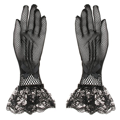 Baosity ウェディング ドレス スカート 短い手袋 レースグロブ 花嫁衣装 白+黒 2枚セット