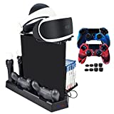 Pandaren 7 in 1 Multifunctional Vertical Stand Set for PS4/ PS4 Slim/PS4 Pro with 3 USB ports & Controller Charger & PS Move Charger & Cooler & Game Storage Holder & PSVR Glass Tray(Black)