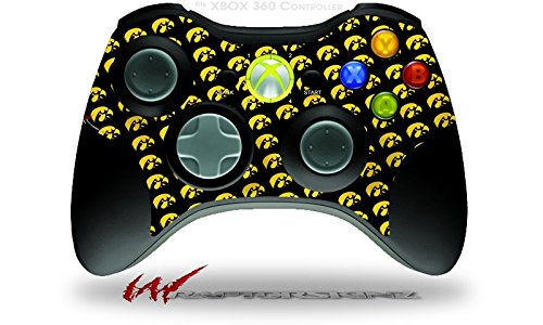 XBOX 360 Wireless Controller Decal Style Skin - Iowa Hawkeyes Tigerhawk Tiled 06 Gold on Black (CONTROLLER NOT INCLUDED)