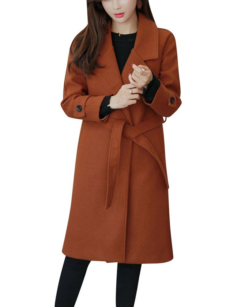 Mujer Elegante De Manga Larga De Lana Solapa Puro Engrosamiento Midi Abrigo Outwear