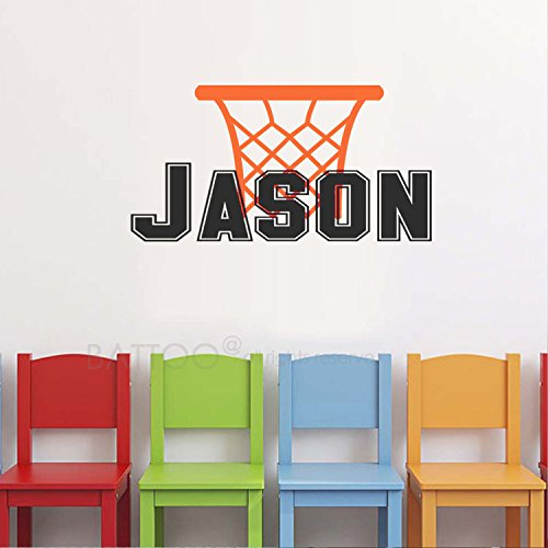 BATTOO Sports Wall Decal – Personalized Boys Name Decal With Basketball Wall Decal Custom Name Decal For Boys Room