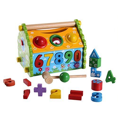 Ytzada Wooden Block Shape Sorter Cube Educational Toy for Kids Baby Toddlers, 4 in 1 Time Learning Clock Shape Matching Blocks Pounding Bench Toys with Slide Out and More Wooden Activity Toy