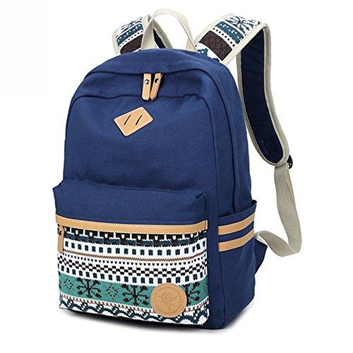 Rucksack des Mädchens,Canvas Schultasche, Outdoor Travel Rucksack College Laptop Rucksack für Teen Girls Frauen,Mädchen Rucksack (schwarz) blau
