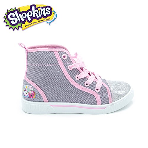 Shopkins Girls High-Top Denim Canvas Sneakers, Size 1