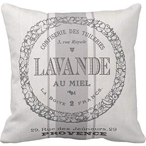 modern vintage French Lavender grain sac pillowcase Pillow shams case Cushion Cover (Lavender Decorative Pillow)