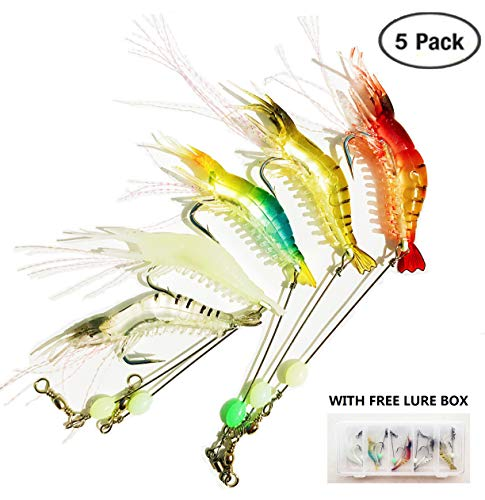 Heylure Artificial Silicone Soft Bait Set, Luminous Shrimp Fishing Lure with Hook Fishing Tackle, Freshwater Saltwater Night Fishing for Bass Trout Catfish Salmon(5pcs/lot 8.5cm 6g) with Free Book PDF