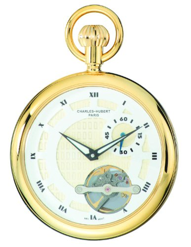 Charles-Hubert, Paris 3901-G Classic Collection Gold-Plated Open Face Mechanical Pocket Watch by Charles-Hubert, Paris