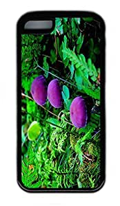 iPhone 5C Case, Personalized Protective Rubber Soft TPU Black Edge Case for iphone 5C - Purple Muchroom Cover