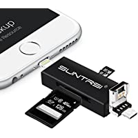 TF/SD Card Reader for iPhone/OTG android/computer,Suntrsi micro SD Card Reader with Lighting for iPhone/iPad,and Charging,Lightning to SD Card Camera adapter