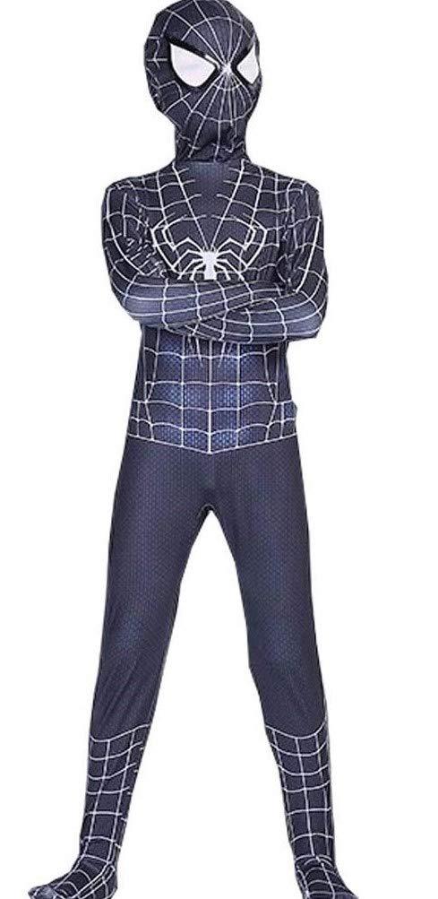 - 51rUrxXufvL - Barfest Kids Halloween Superhero Black Lycra Zentai Costume Bodysuit