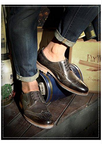Robe Homme Lacets Grey D'Affaires Chaussures Marron Cuir Fond Gris Derby Classique Mou à Chaussures Chaussures CXqdIfwxf