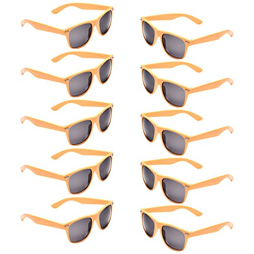 10 Packs Neon Colors Party Favors 80's Retro Unisex Sunglasses,UV Protection (yellow) -