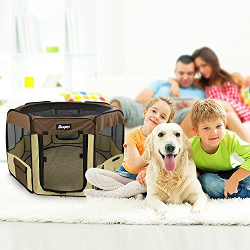 JESPET 45'' Pet Dog Playpens, Portable Soft Dog Exercise Pen Kennel with Carry Bag for Puppy Cats Kittens Rabbits,Brown