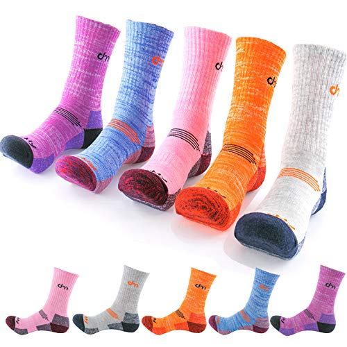 DearMy 5Pack of Women's Multi Performance Cushion Outdoor Hiking Crew Socks | Moisture Wicking | Gifts for Women | Year Round (Small (Shoe size 6-8 US), Orange/Grey/Purple/Blue/Pink - 5pack)