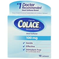 Colace Docusate Sodium Stool Softner, 100 mg Capsules, 10 Count