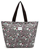 Tote Shopping Bag For Women,Coin Purse MakeUp Bag,School College Backpack For Teen Girls Student Women (G-Tote Bag-Floral-Grey)