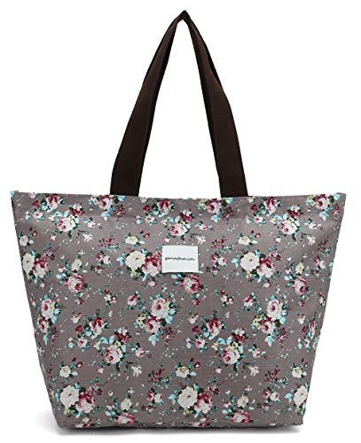 Tote Shopping Bag For Women,Coin Purse MakeUp Bag,School Backpack For Litter Girls Student (G-Tote Bag-Floral-Grey)