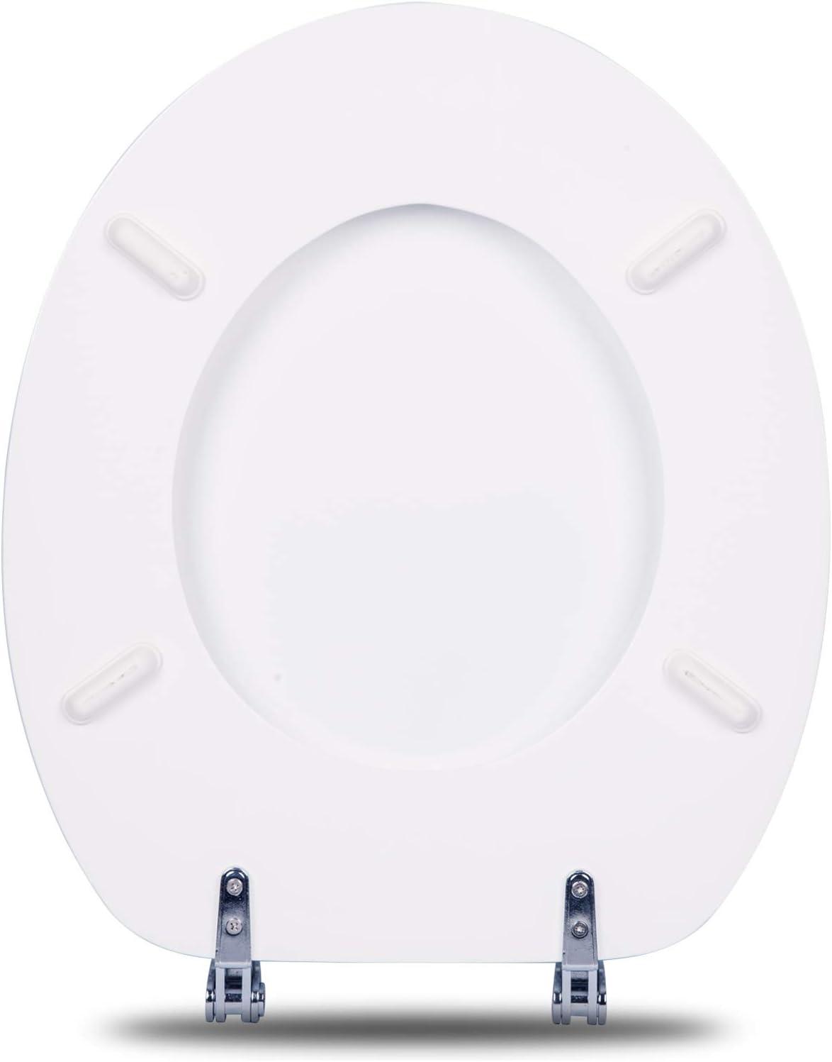 eSituro STS0212 Abattant WC Fonction softclose Si/ège de Toilette Couvercle de WC en MDF Charni/ères en Zinc chrom/é